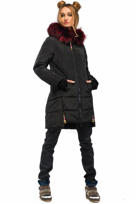 1877 – Stylish down jacket of average length with fur charm